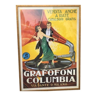 Vintage Italian Columbia Grafofoni Large Framed Poster