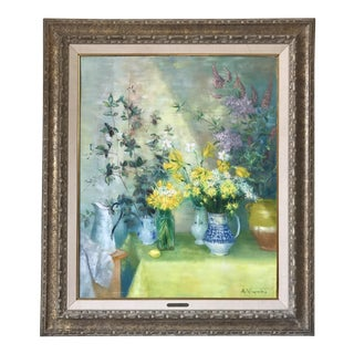 Mid Century Floral Painting by Andre Vignoles