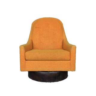 Mid-Century Modern Milo Baughman Style Floating Orange Swivel Lounge Chair With Wood Base