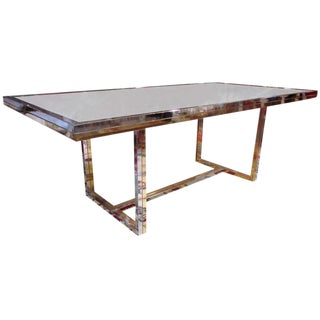 Bronze and Chrome Dining Table with Smoked Glass Top