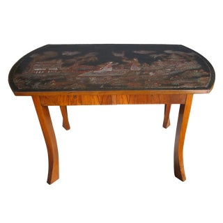 An Austrian Secessionist Walnut Center Table w/Chinoiserie Top