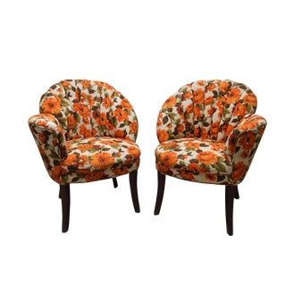Retro Vintage Floral Slipper Side Chairs With Fluted Back - A Pair
