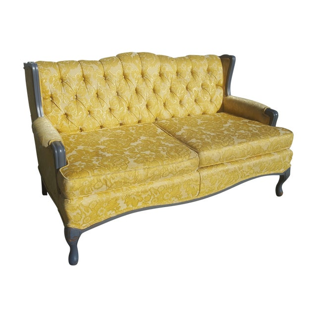 Vintage French Provincial Yellow Brocade Loveseat - Image 1 of 6