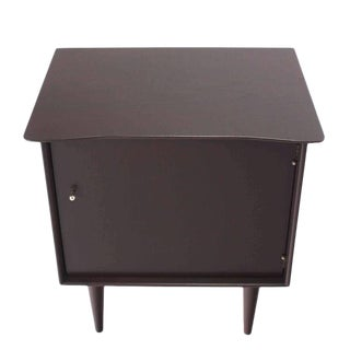 Pair of Dark Walnut Single Door End Tables or Nightstands