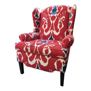 Red & Blue Ikat Print Wingback Chair