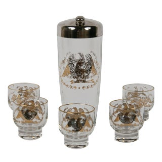 Vintage Eagle Cocktail Shaker & Glasses