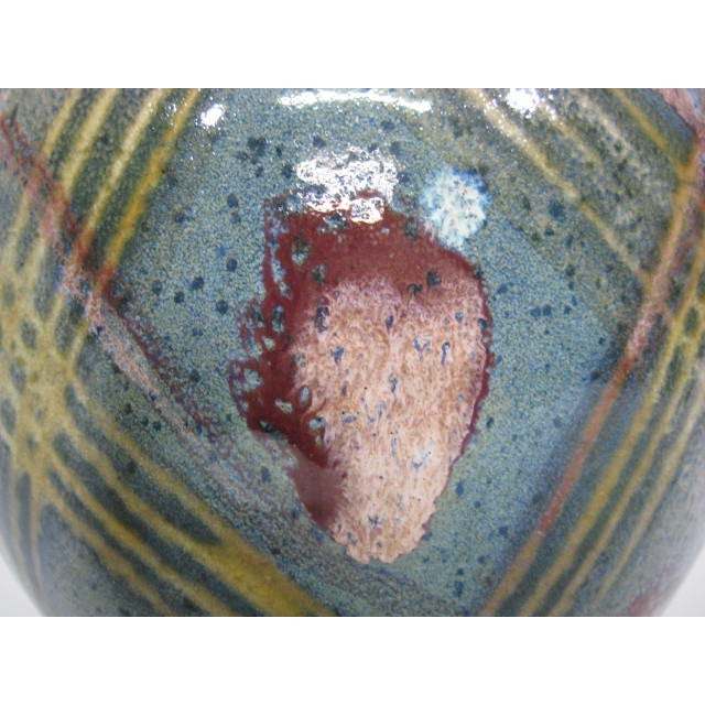 Blue Double Handle Art Pottery Vase - Image 8 of 8