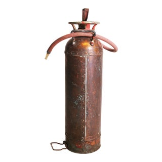 Vintage Industrial Copper Fire Extinguisher