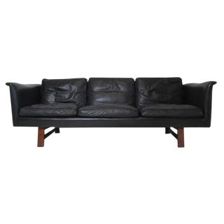 Danish Mid-Century Black Leather Sofa by Aarhuspol