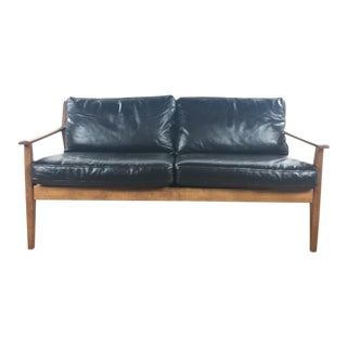 West Elm Mid-Century Modern Black Leather Sofa