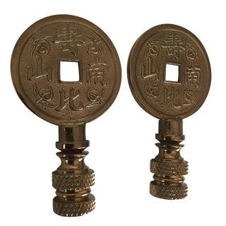 Asian iChing Coin Finials - A Pair