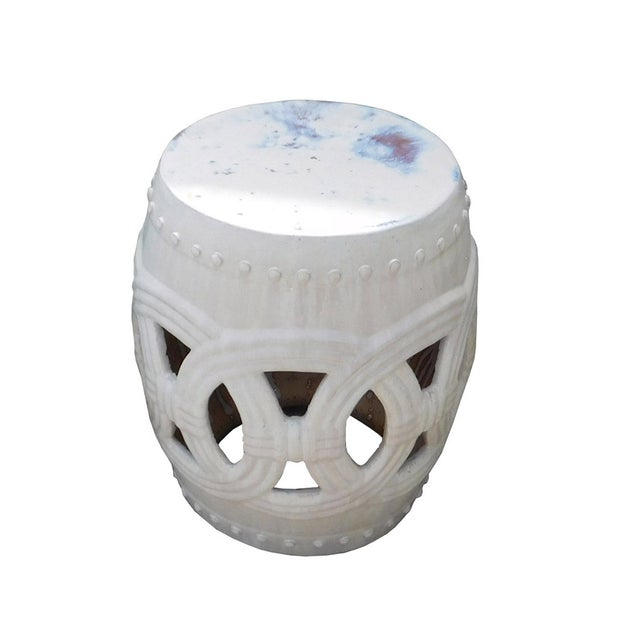 Round Ceramic Garden Stool with White Coin Pattern - Image 2 of 5