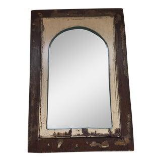 Vintage Indian Archway Painted Teak Mirror