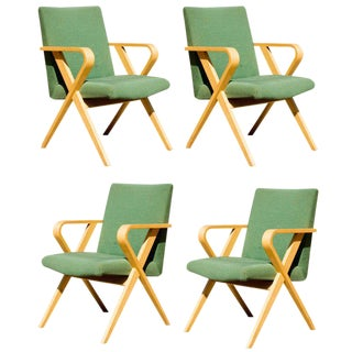 Set of Four Thonet Bentwood Upholstered Armchairs