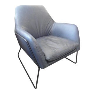 Charme Gray Leather Chair With Metal Frame