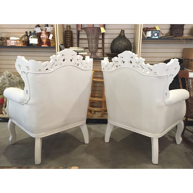 White Rococo Wingback Chairs - A Pair - Image 4 of 11
