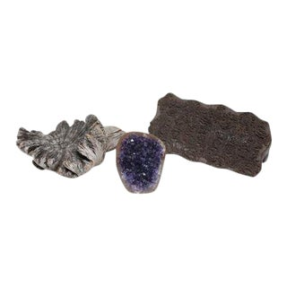 Amethyst Crystal & Wood Objects - Set of 3