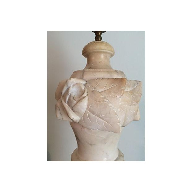 Large Carved Marble Floral Table Lamp - Image 3 of 3