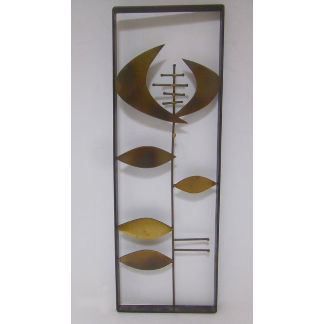 Image of Mid-Century Brutalist Brass Wall Sculpture