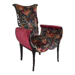 Italian Hollywood Regency Upholstered Fireside Chair