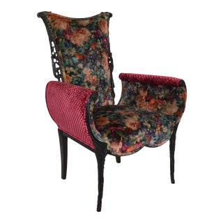 Italian Hollywood Regency Upholstered Fireside Chair