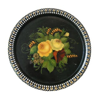 Antique Round Floral Tole Tray