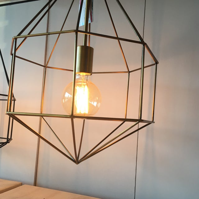 Gold Geometric Cage Pendant Light - Image 4 of 5