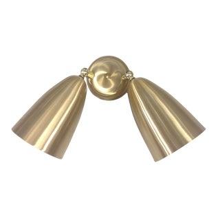 Mid Century EJS Lighting Golden Dual Bullet Sconce