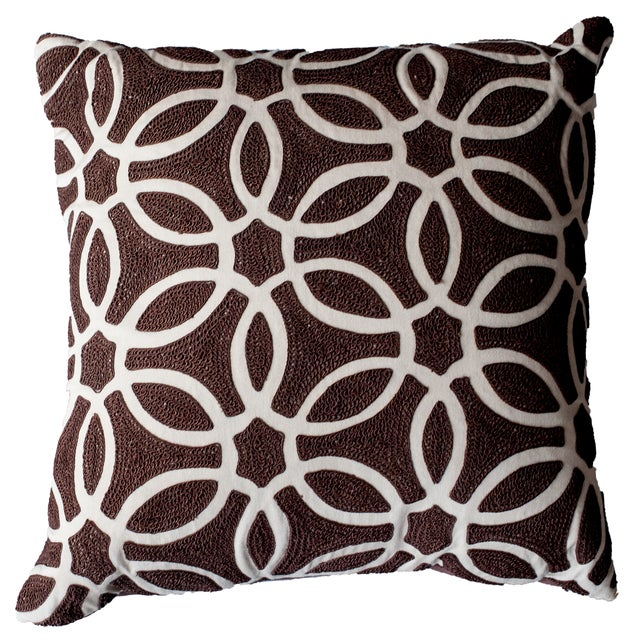 Brown & Ivory Embroidered Accent Pillow - Image 1 of 2