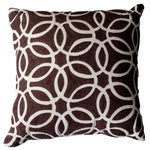 Image of Brown & Ivory Embroidered Accent Pillow
