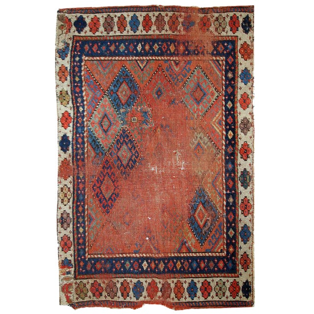 1880s Handmade Antique Persian Kurdish Rug - 2′ × 3′3″ - Image 1 of 10