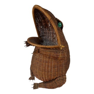 Green Eyed Vintage Wicker Frog Basket