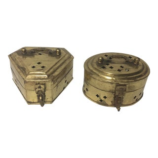 Indian Brass Cricket Boxes - A Pair