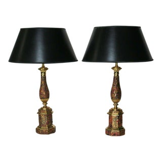 19th C. French Faux Marble Tole Lamps - A Pair