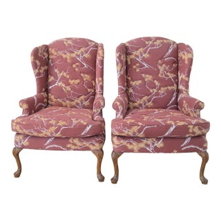 Vintage Quilted Wingback Chairs - A Pair