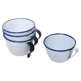 Vintage Swedish Enamelware Cups - S/4