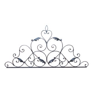 French Black Wrought Iron Headboard Wall Accent