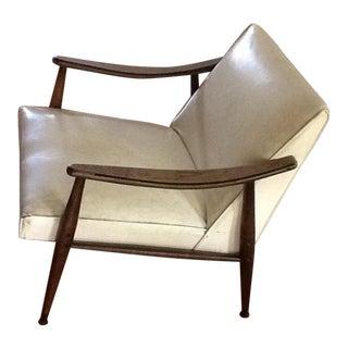 Mid-Century Vinyl & Upholstered Armchair