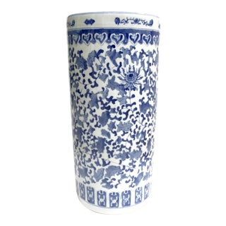 Ceramic blue and white umbrella stand