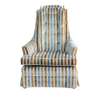 Hollywood Regency Striped High Back Chair