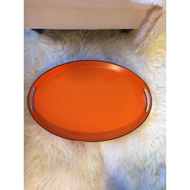 Orange Lacquer Oval Hermès Inspired Serving Tray - Image 2 of 11