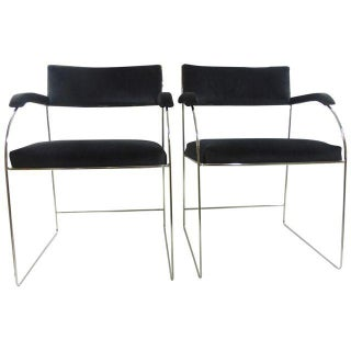 Mid-Century Chrome Accent Chairs - Pair