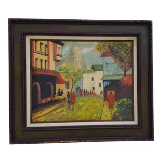 1971 Paris Montmartre Street Scene Painting By Listed Artist B. Weinstein.