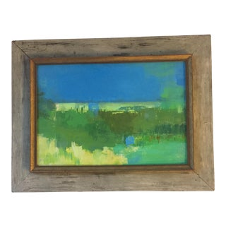 Vintage Modernist Framed Landscape Abstract Painting