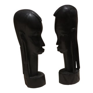 Wooden Sculpted Native American Heads - A Pair
