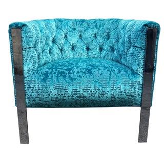 Chrome Tufted Lounge Chair, Milo Baughman Style
