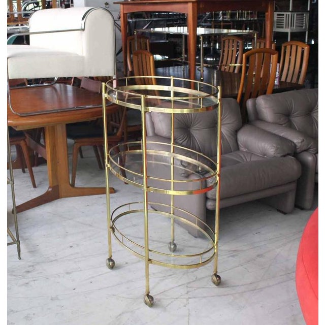 Three-Tier Brass Oval Tea Serving Cart - Image 8 of 8