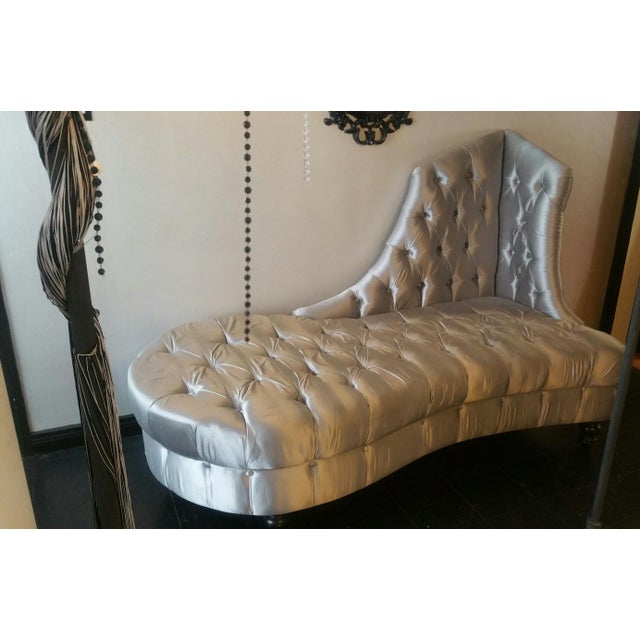 Silver Tufted Chaise Lounge - Image 2 of 5
