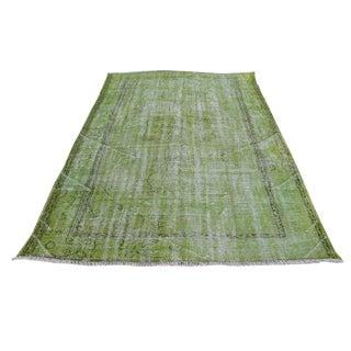 Antique Turkish Green Wool Oushak Rug - 6′ × 8′9″