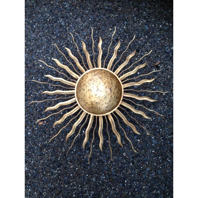 Rustic Gold Sun Shaped Wall Sconces - Set of 3 - Image 3 of 4